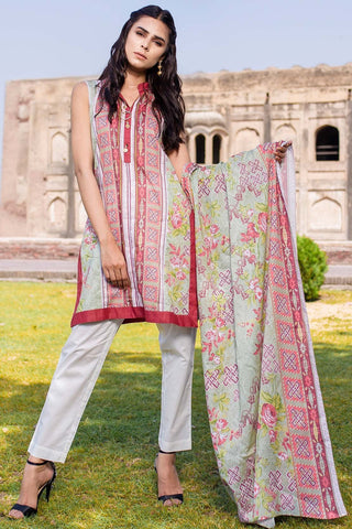 Warda Designer Collection - 3PC Lawn Print with Net Dupatta 3818584