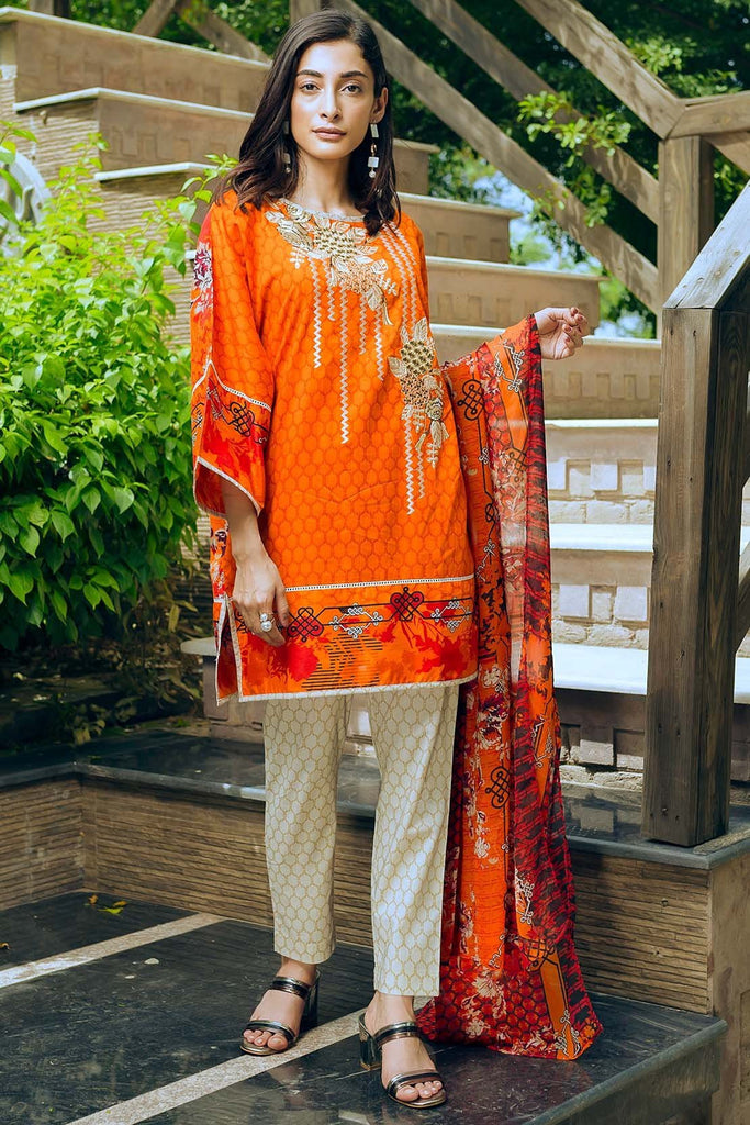 Warda Designer Collection - 3PC Lawn Embroidery with Chiffon Dupatta 3818333