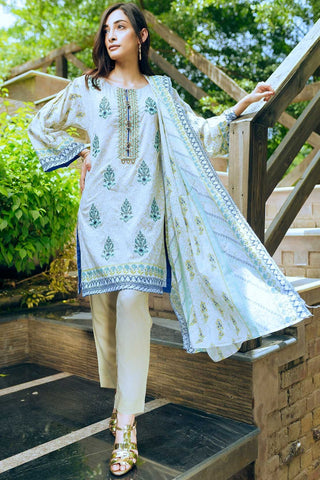 Unstitched - 3PC Lawn Embroidery 3818578 - Warda Designer Collection