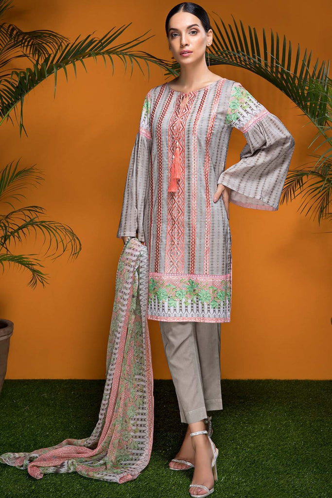 Warda Designer Collection - 2PC Lawn Embroidery with Chiffon Dupatta 2558593