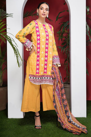 Warda Designer Collection - 3PC Lawn Embroidery with Bamber Dupatta 3818572