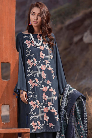 Warda Designer Collection - 3PC Marina Embroidery with Printed Shawl 3818987