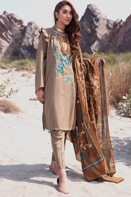 3PC Marina Embroidery with Printed Shawl 3818985 - Unstitched - Warda Designer Collection