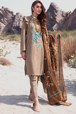 Warda Designer Collection - 3PC Marina Embroidery with Printed Shawl 3818985