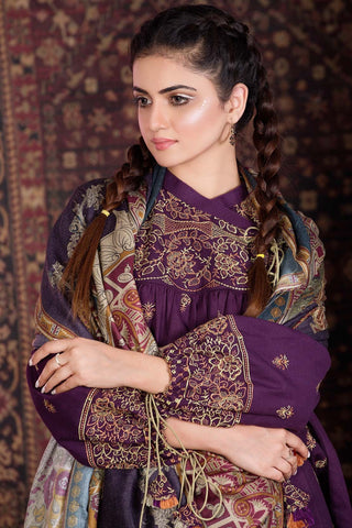 Warda Designer Collection - 3PC Marina Embroidery with Printed Shawl 3818984