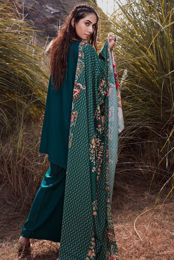 Warda Designer Collection - 3PC Marina Embroidery with Printed Shawl 3818983