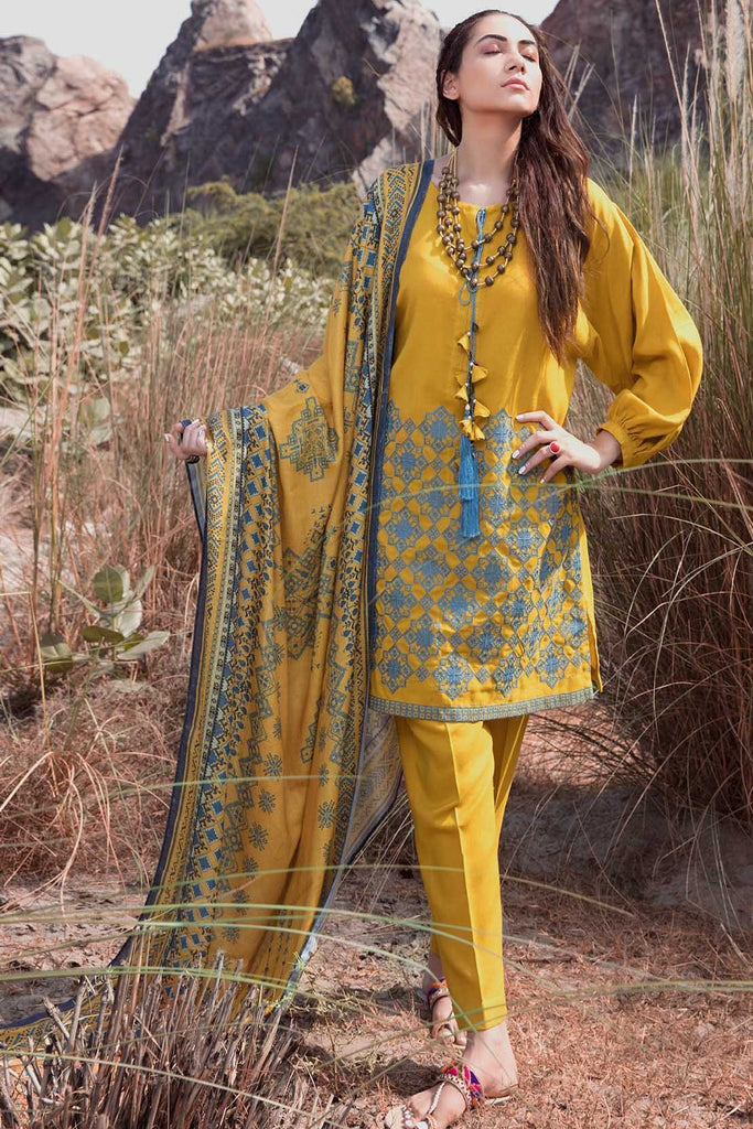 Warda Designer Collection - 3PC Woolen Silk Embroidery with Printed Shawl 3818978