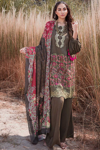 Warda Designer Collection - 3PC Woolen Silk Embroidery with Printed Shawl 3818976