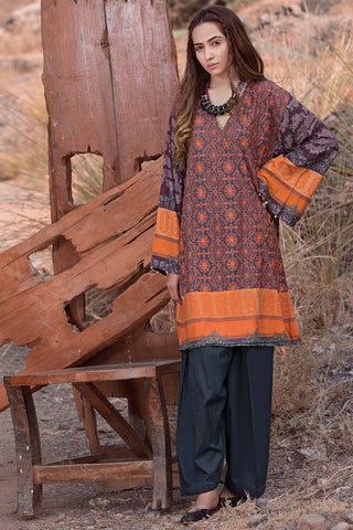 Warda Designer Collection - Single Shirt Silk karandi Chikan Kari with Print 1308958
