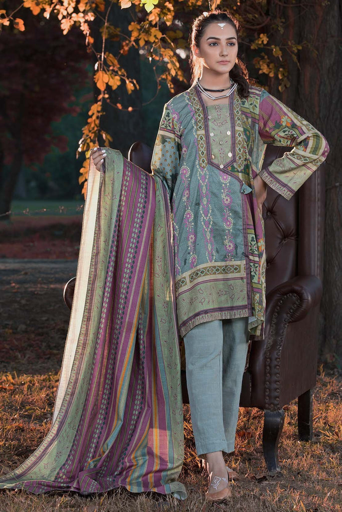 Unstitched - 2PC Khaddar Chikan Kari 2558866 - Warda Designer Collection