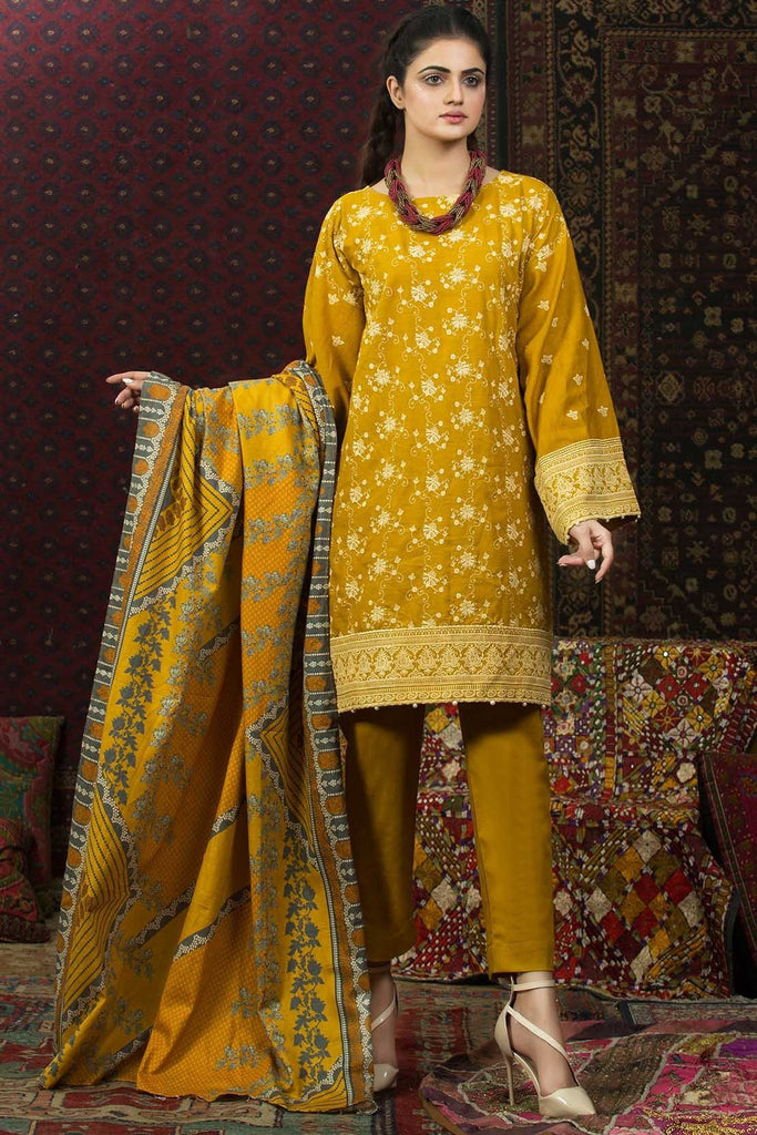 Warda Designer Collection - 3PC Khaddar Solid Chikan Kari with Shawl 3818846