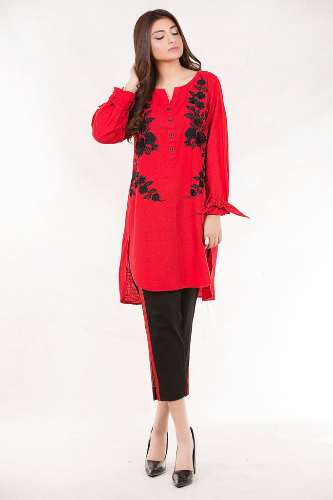Stitched  Bold Solid Shirt Khaddar Embroidery LW18697 - Pret - Warda Designer Collection