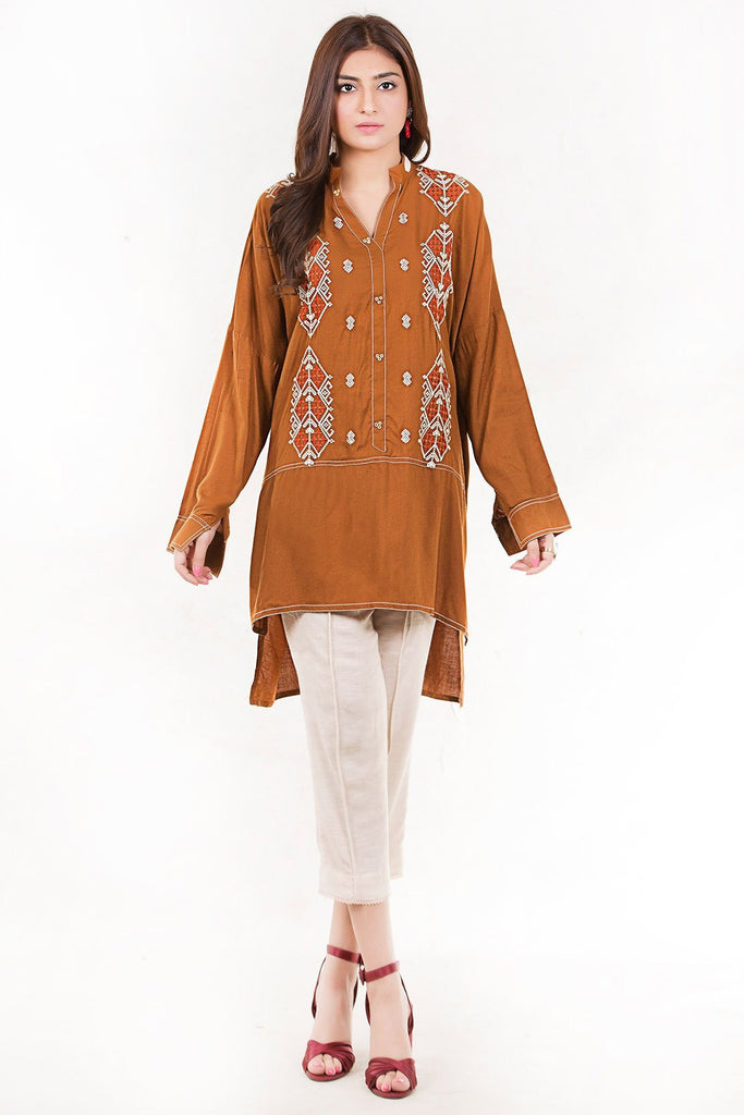 Warda Designer Collection - Stitched Bold Solid Shirt Linen Embroidery LW18700
