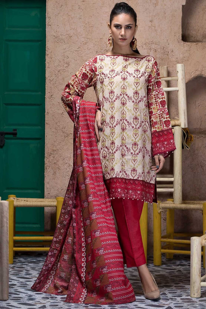 Warda Designer Collection - 3PC Silk Karandi Chikan Kari 3818932