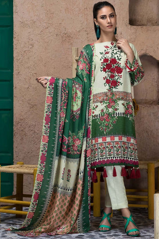 Warda Designer Collection - 3PC Silk Karandi Embroidery with Shawl 3818929