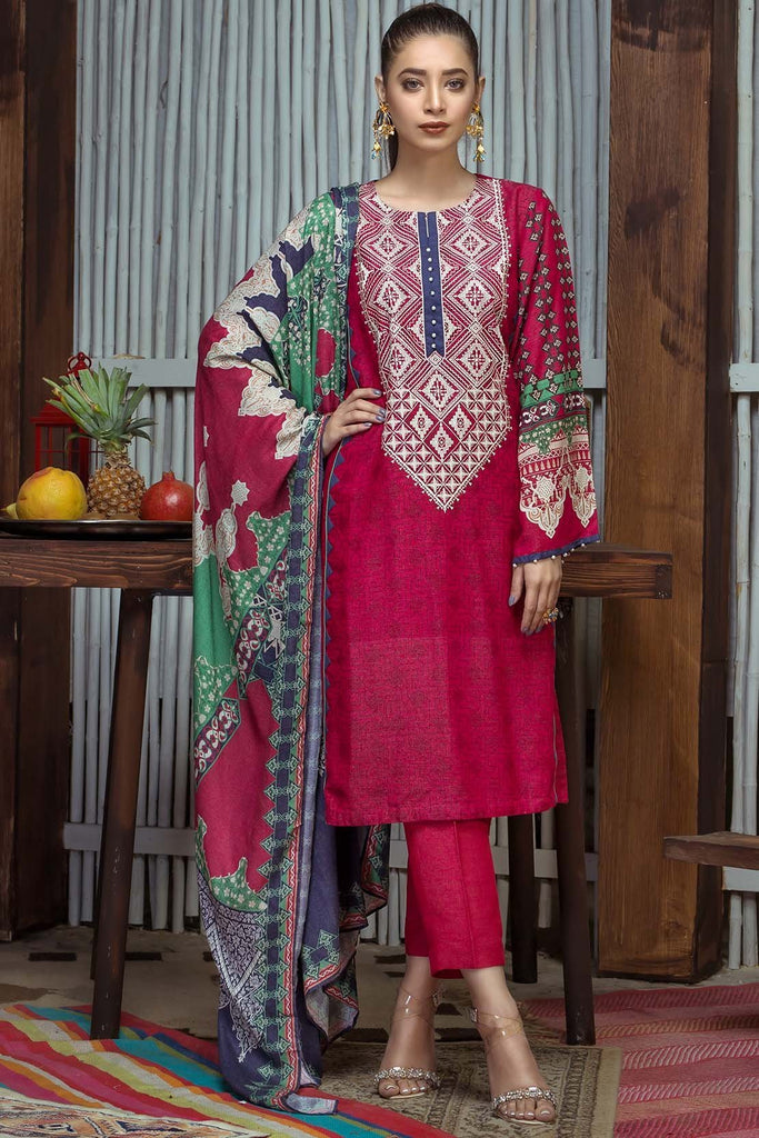 3PC Silk Karandi Embroidery with Shawl 3818928