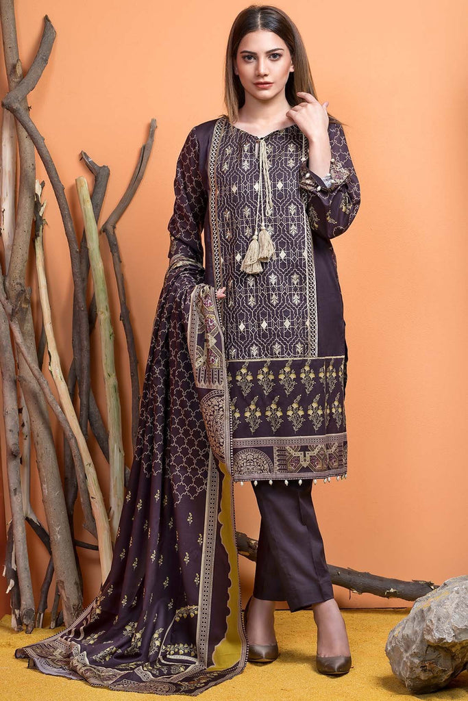 Warda Designer Collection - 3PC Khaddar Embroidery with Shawl 3818926