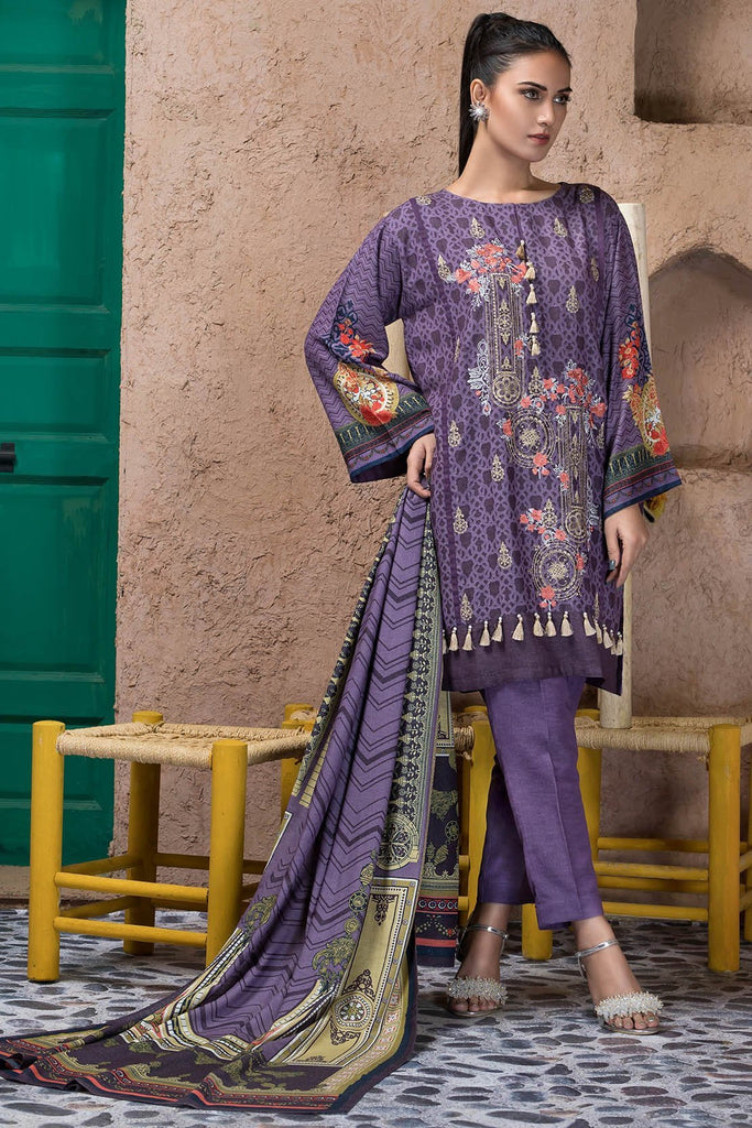 Warda Designer Collection - 3PC Silk Karandi Embroidery 3818920