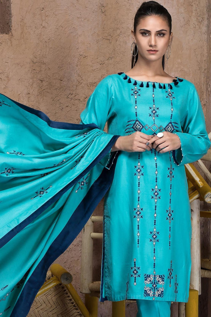 Warda Designer Collection - 3PC Marina Embroidered Shirt with Embroidered Dupatta 3818989