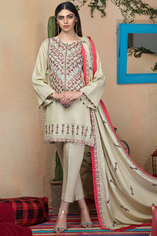 Warda Designer Collection - 3PC Marina Embroidered Shirt with Embroidered Dupatta 3818988