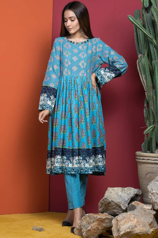 Single Shirt Silk Karandi Chikan Kari with Print 1308959 - Unstitched - Warda Designer Collection