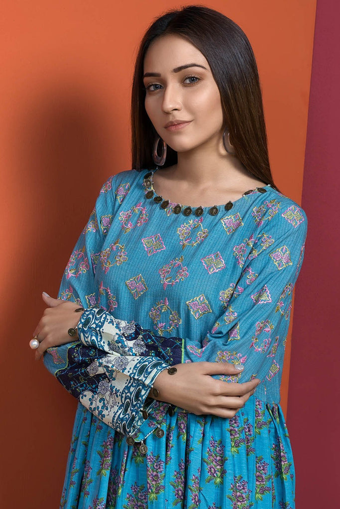 Warda Designer Collection - Single Shirt Silk Karandi Chikan Kari with Print 1308959