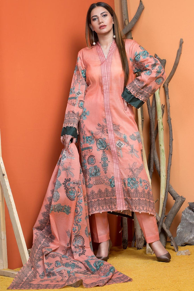 3PC Silk Karandi Print 3818943 - Unstitched - Warda Designer Collection