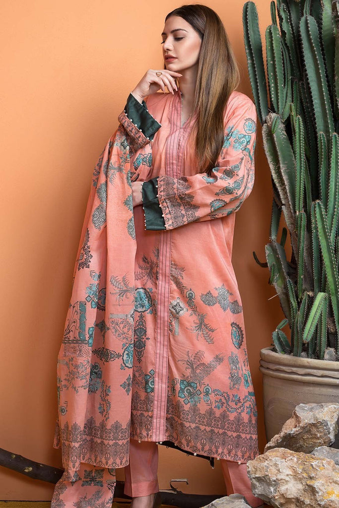 Warda Designer Collection - 3PC Silk Karandi Print 3818943