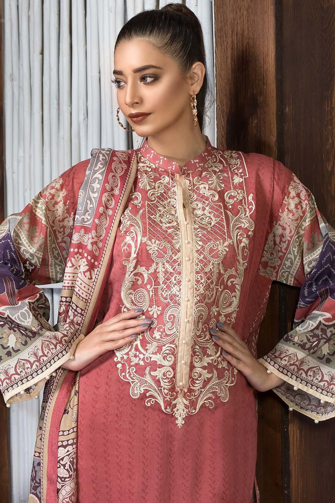 Unstitched - 3PC Khaddar Embroidery with Shawl 3818834 - Warda Designer Collection