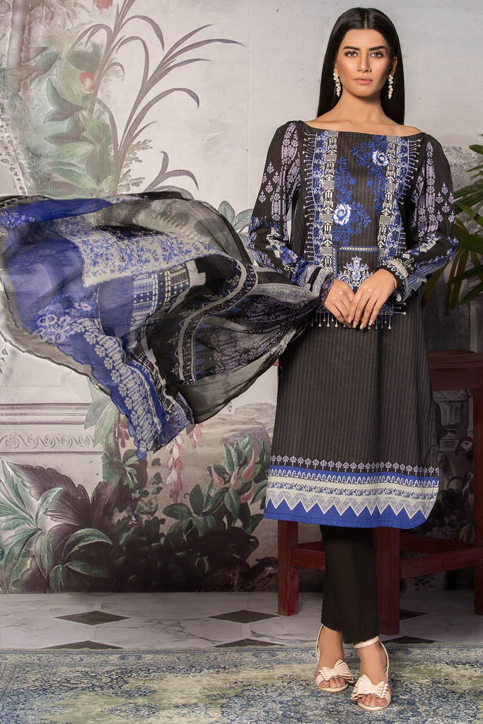 Unstitched - 3PC Lawn Embroidery with Bamber Dupatta 389062A - Warda Designer Collection