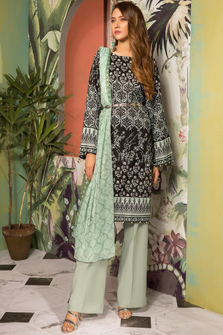 Warda Designer Collection - 3PC Lawn Print with Chiffon Dupatta 7.5 Meters 3819223