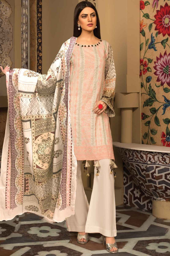 Warda Designer Collection - 3PC Lawn Chikan Kari with Printed & Embroidered Lawn Dupatta 3819338