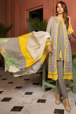Warda Designer Collection - 3PC Lawn Print 7.5 Meters 3819039