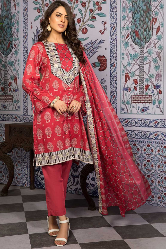3PC Lawn Print 7.5 Meters 3819386 - Unstitched - Warda Designer Collection