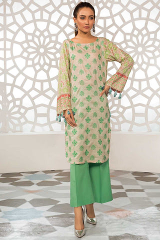 Single Shirt Lawn Chikan Kari with Print 1309325 - Unstitched - Warda Designer Collection