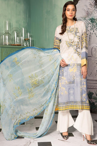 Unstitched - 3PC Lawn Embroidery with Chiffon Dupatta 3819052 - Warda Designer Collection