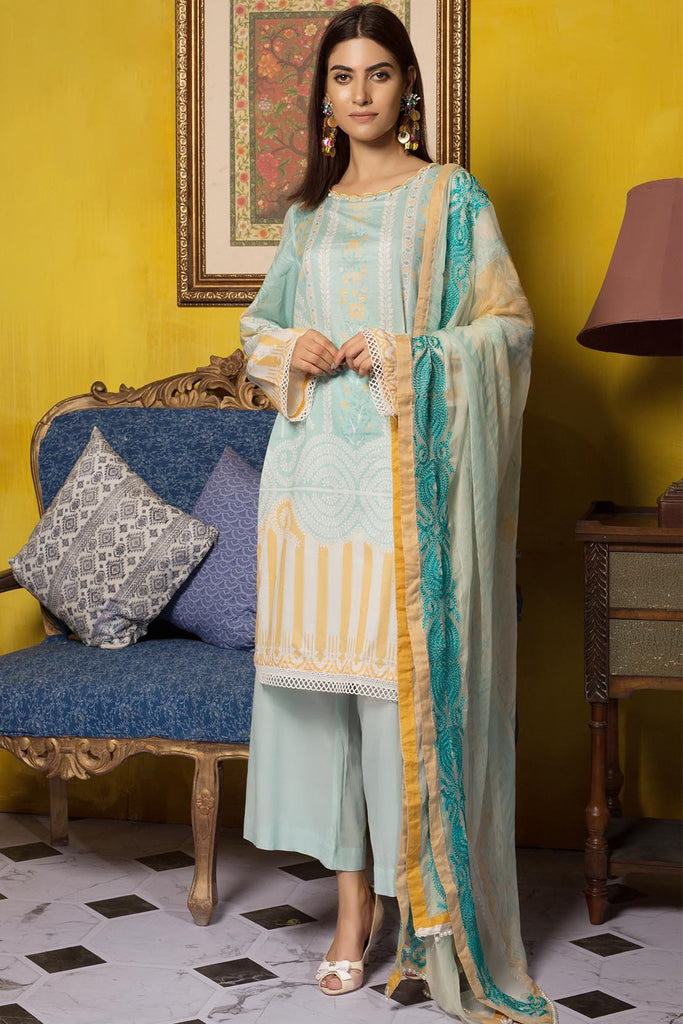3PC Lawn Printed Shirt with Embroiered Chiffon Dupatta (Printed Dupatta) 3819345 - Unstitched - Warda Designer Collection
