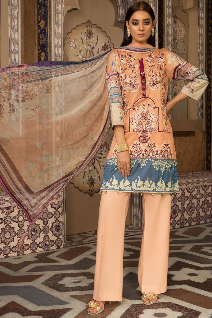 3PC Lawn Embroidery with Bamber Dupatta 3819275 - Unstitched - Warda Designer Collection