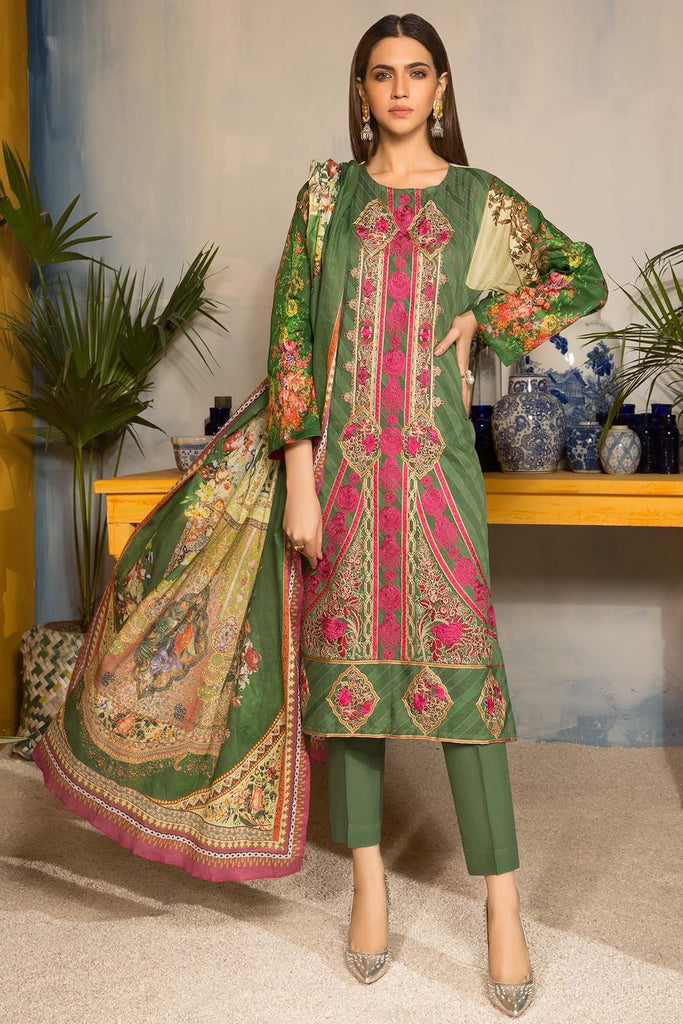 Splendid Stem 3PC Melange Embroidery 3819105 - Premium - Warda Designer Collection