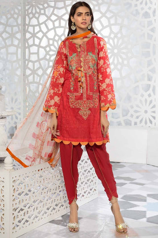 Warda Designer Collection - 3PC Lawn Embroidery with Bamber Dupatta 389242A
