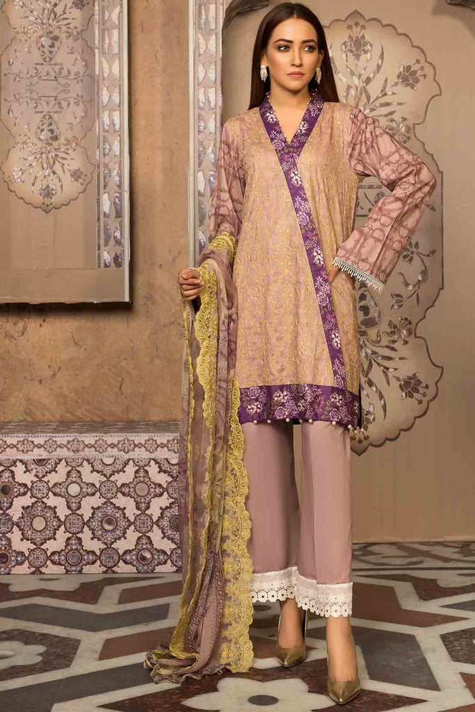 3PC Lawn Chikan Kari with Printed & Embroidered Chiffon Dupatta 3819334 - Unstitched - Warda Designer Collection