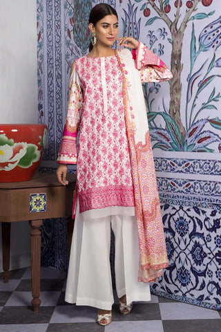 Warda Designer Collection - 3PC Lawn Chikan Kari 3819428