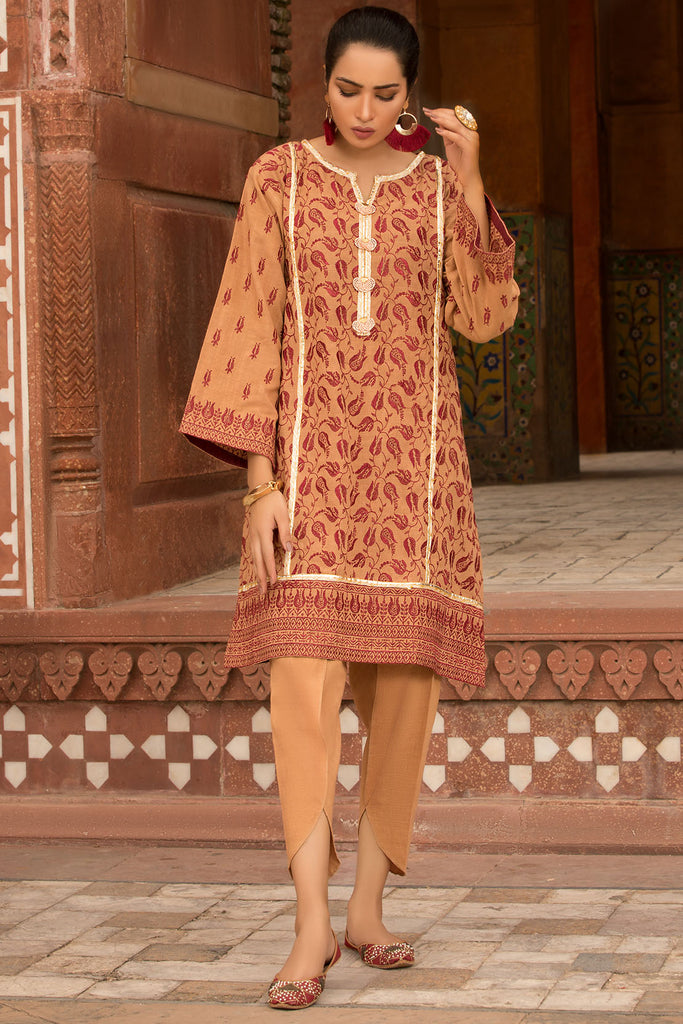 2PC Khaddar Solid Chikan Kari 2559729 - Unstitched - Warda Designer Collection