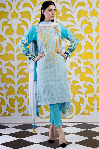 Warda Designer Collection - 3PC Embroidered Lawn Print 389093A