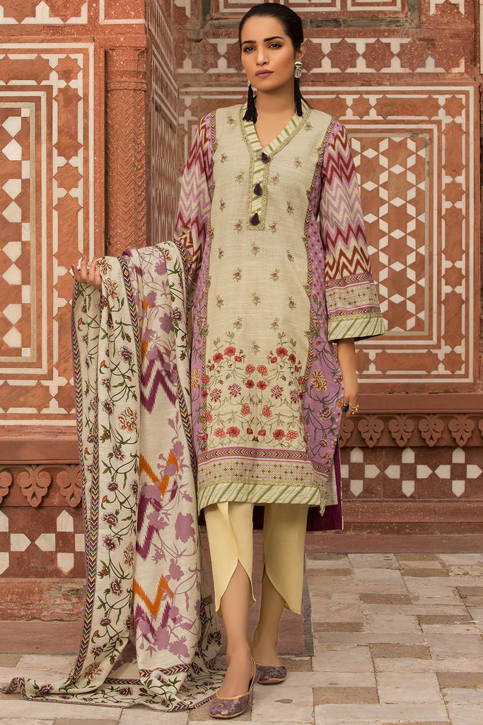 2PC Khaddar Embroidery (Dupatta) 2559714 - Unstitched - Warda Designer Collection