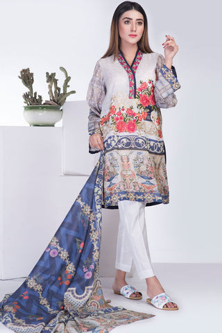 Warda Designer Collection - 3PC Lawn Embroidery (MH) LS18220