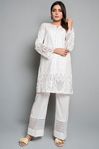 Single Shirt Solid Embroidery Solid Embroidery LS18308 - Pret - Warda Designer Collection