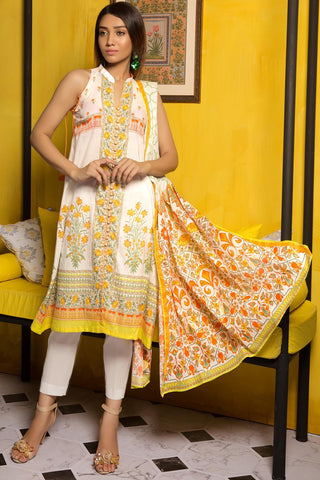 3PC Lawn Print 389375A - Unstitched - Warda Designer Collection