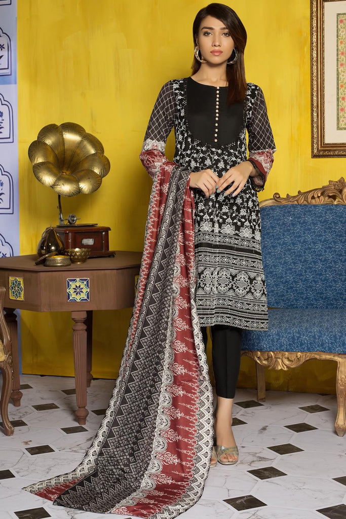 Warda Designer Collection - 3PC Lawn Chikan Kari-Wider 3819261