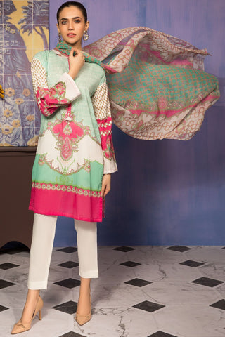 3PC Lawn Print with Chiffon Dupatta 3819222 - Unstitched - Warda Designer Collection